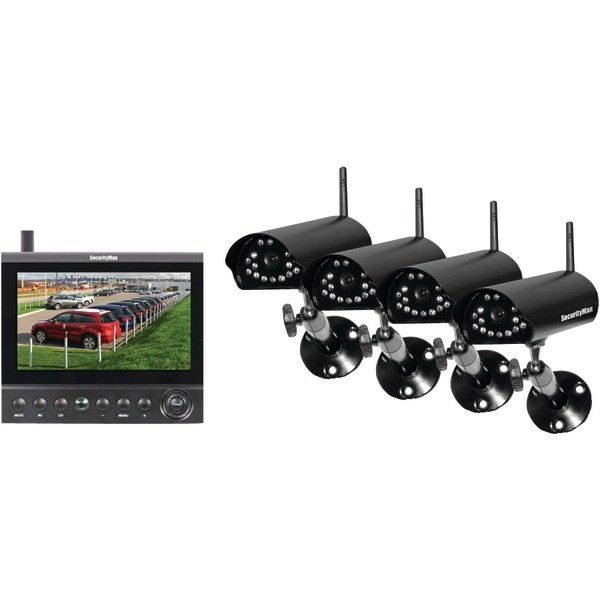 SECURITYMAN Complete 2.4GHz Digital Wireless Camera LCD/DVR System with 4 Wireless Cameras Model DigiLCDDVR4
